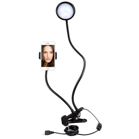 Mounting Clip (3-Level Brightness Selfie Ring Light Clip with Clamp Mounting Adapter Cell Phone Holder On 360 Rotating For Live Stream Video Chat Flexible Long Arms Clips Lazy Bracket (Black) )