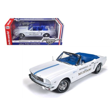 1964 1/2 Ford Mustang Convertible 289 V8 Indy 500 Pace Car Limited to 1500pc 1/18 Diecast Model Car by Autoworld - Mustang Indy Pace Car