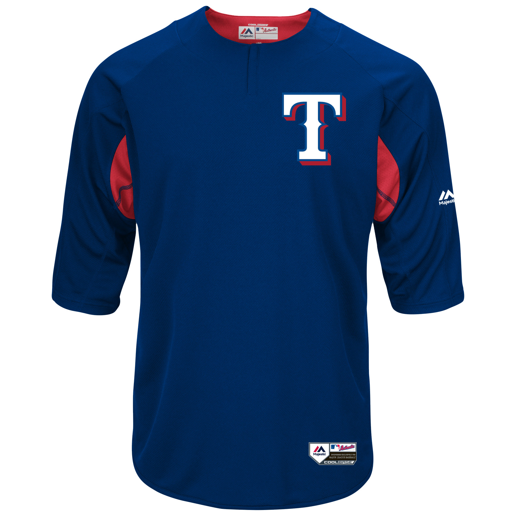 online retailer 96809 e95ce Texas Rangers Majestic Authentic Collection On-Field 3/4-Sleeve Batting  Practice Jersey - Royal/Red