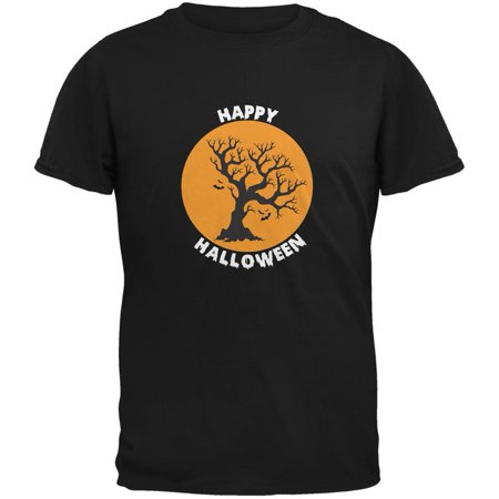 Happy Halloween Tree Silhouette Black Adult T-Shirt (Happy Halloween Dachshund)