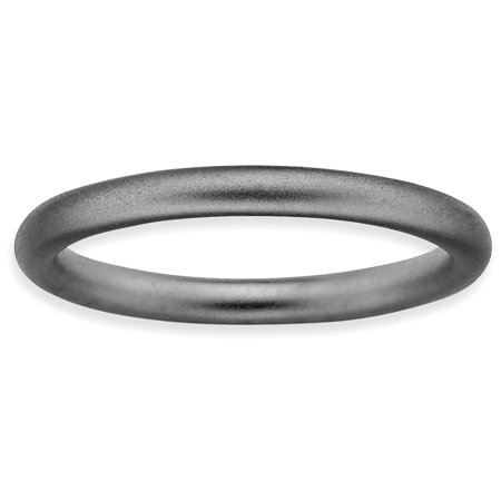 Sterling Silver Stackable Expressions Black-plated Satin Ring Size 6 - image 3 de 3