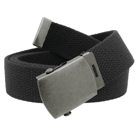 Boys School Uniform Antique Silver Slider Military Belt Buckle with Canvas Web Belt Small Black ()