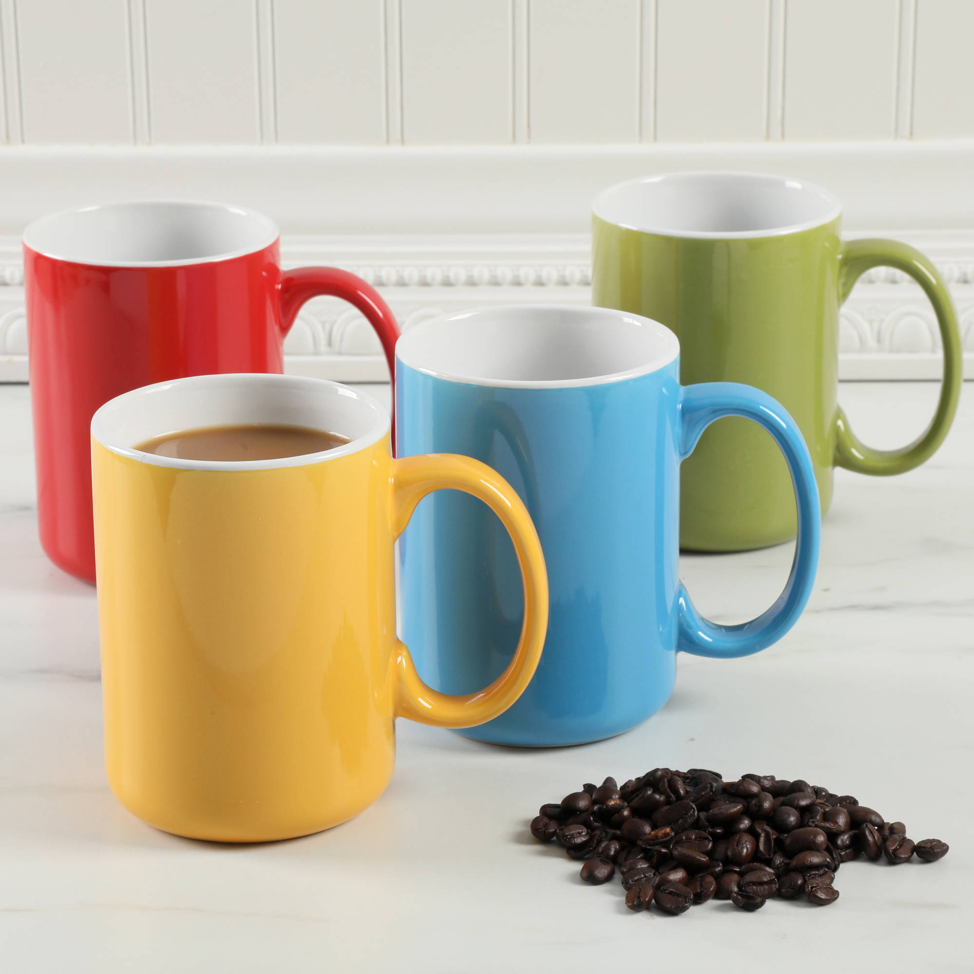 Gibson Home Vibrancy 17 oz Assorted Colors, Set Of 4