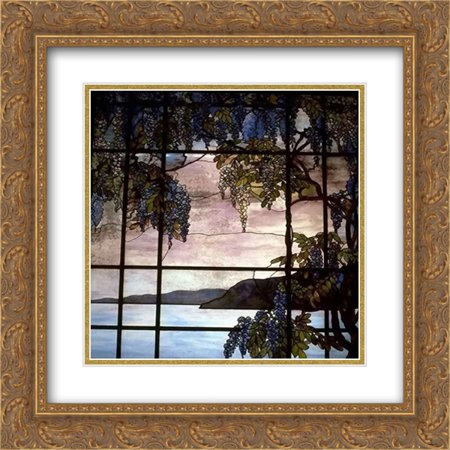 Oyster Bay Halloween Festival (Louis Comfort Tiffany 2x Matted 20x20 Gold Ornate Framed Art Print 'View of Oyster)