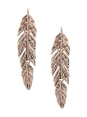 Rose Gold Hinged Feather Rhinestone Earrings
