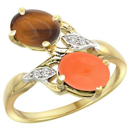14k Yellow Gold Diamond Natural Tiger Eye & Orange Moonstone 2-stone Ring Oval 8x6mm, sizes 5 - (Moonstone Eye)