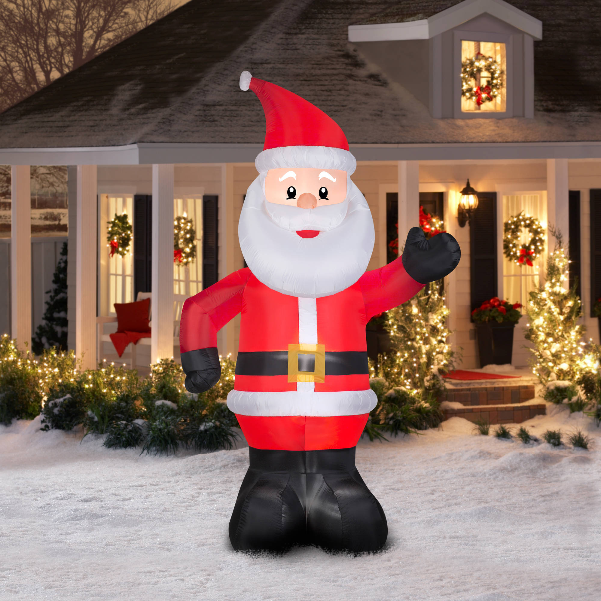gemmy airblown christmas inflatables 10 santa walmartcom - Outdoor Blow Up Christmas Decorations