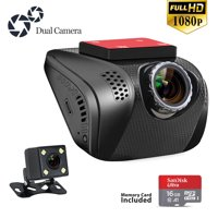 Dash Cam for Car Dashboard Camera Recorder with Wide Angle, G-Sensor, WDR, Loop Recording, Night Vision, Motion Detection Front and Rear Cam, 16G Memory Card Included