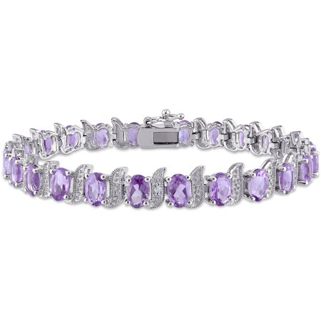9-5/8 Carat T.G.W. Amethyst and Diamond-Accent Sterling Silver Tennis Bracelet, 7