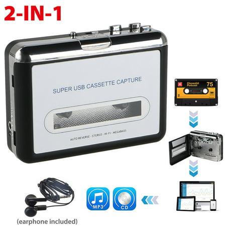 EEEkit Cassette Tape to MP3 CD Converter via USB, Portable Cassette Player Convert Cassette Tape to Digital MP3, Compatible with Laptop, PC, with Earphones (Cassette To Cd Conversion)