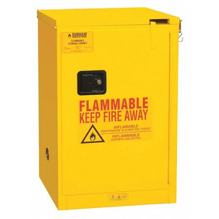 DURHAM 1004S-50 Flammable Safety Cabinet, Self Close, 4 gal., (Yellow Safety Storage Cabinet)
