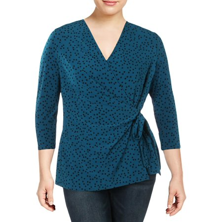 ANNE KLEIN Womens Teal Printed 3/4 Sleeve V Neck Faux Wrap Top  Size: 2XS