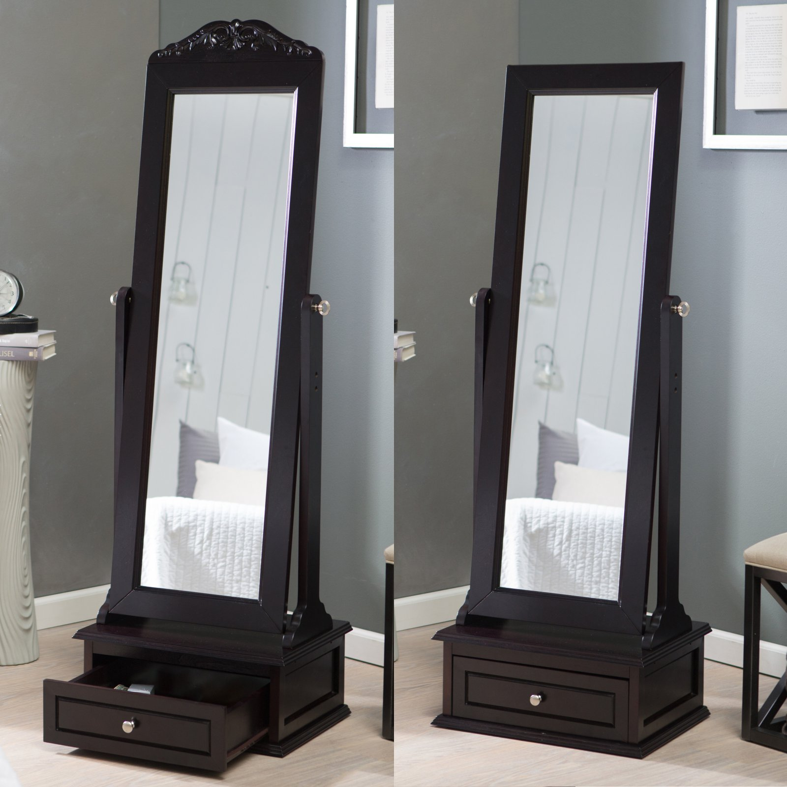 Belham Living Removable Decorative Top Cheval Mirror - Espresso - 21.5W x 60H in.