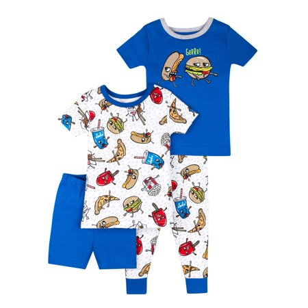 100% Organic Cotton Short Sleeve Tight Fit Pajamas, 4pc Set (Baby Boys & Toddler Boys)