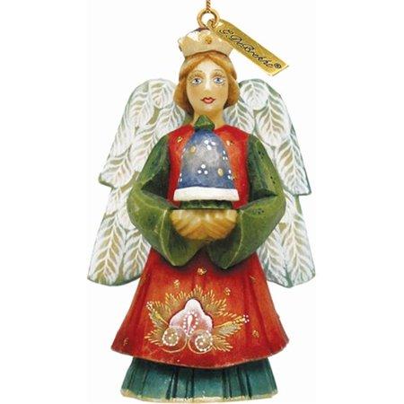 G Debrekht Derevo Angel with Bell Figurine Ornament - Angel Bell Necklace