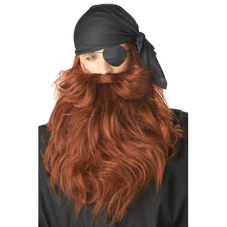 Pirate Beard and Moustache Red Halloween Accessory - Pirate Beard