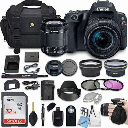 Canon EOS Rebel SL2 24.2MP DSLR Camera Bundle with EF-S 18-55mm f/4-5.6 IS STM Lens + 32GB Memory + Camera Bag + 3 Pc Filter Kit + 2.2x Telephoto + 0.43x Macro Close Up Lens + More Accessories