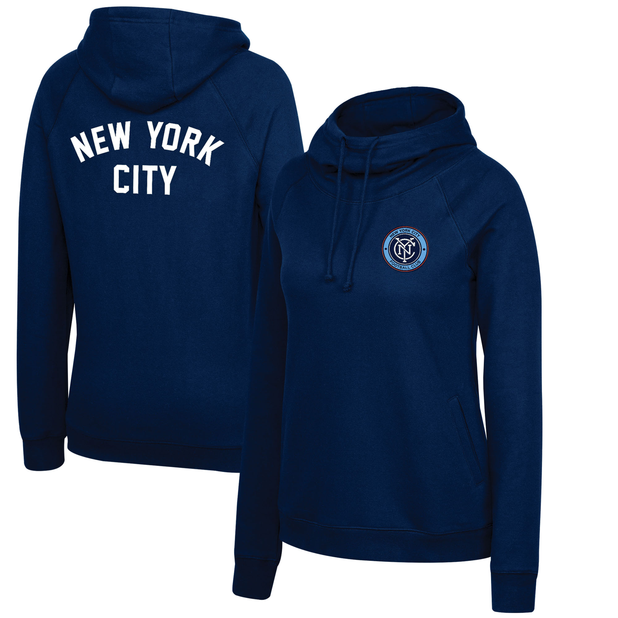 New York City FC Mitchell & Ness Women's Funnel Neck Pullover Hoodie - Blue