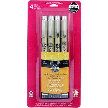 Pigma Micron Pens Assorted 4/Pkg-Black, Sepia - Micron Pen
