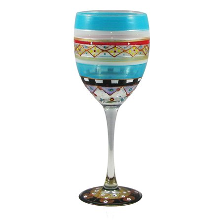 Set of 2 Mosaic Carnival Confetti Hand Painted Wine Drinking Glasses - 10.5 Oz.](Carnival Drinks)