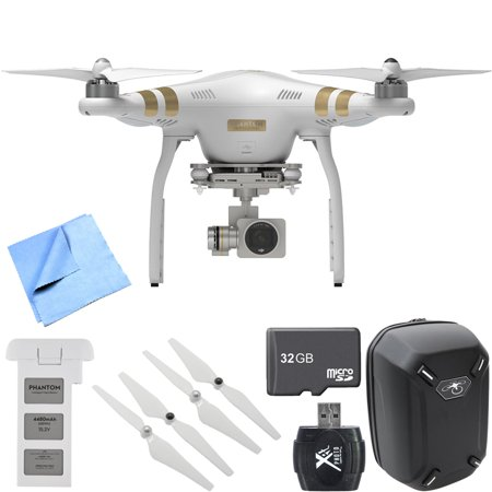 DJI Phantom 3 Professional Quadcopter Drone with 4K Camera Mobile Command Kit includes Phantom 3 Quadcopter, Battery, Backpack, Propeller Set, 32GB Memory Card, Card Reader and Beach Camera Cloth -  0084143411507