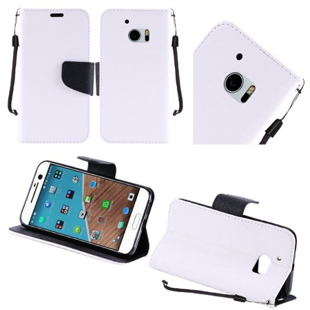 For Htc M10 Flip Wallet Credit Card   White