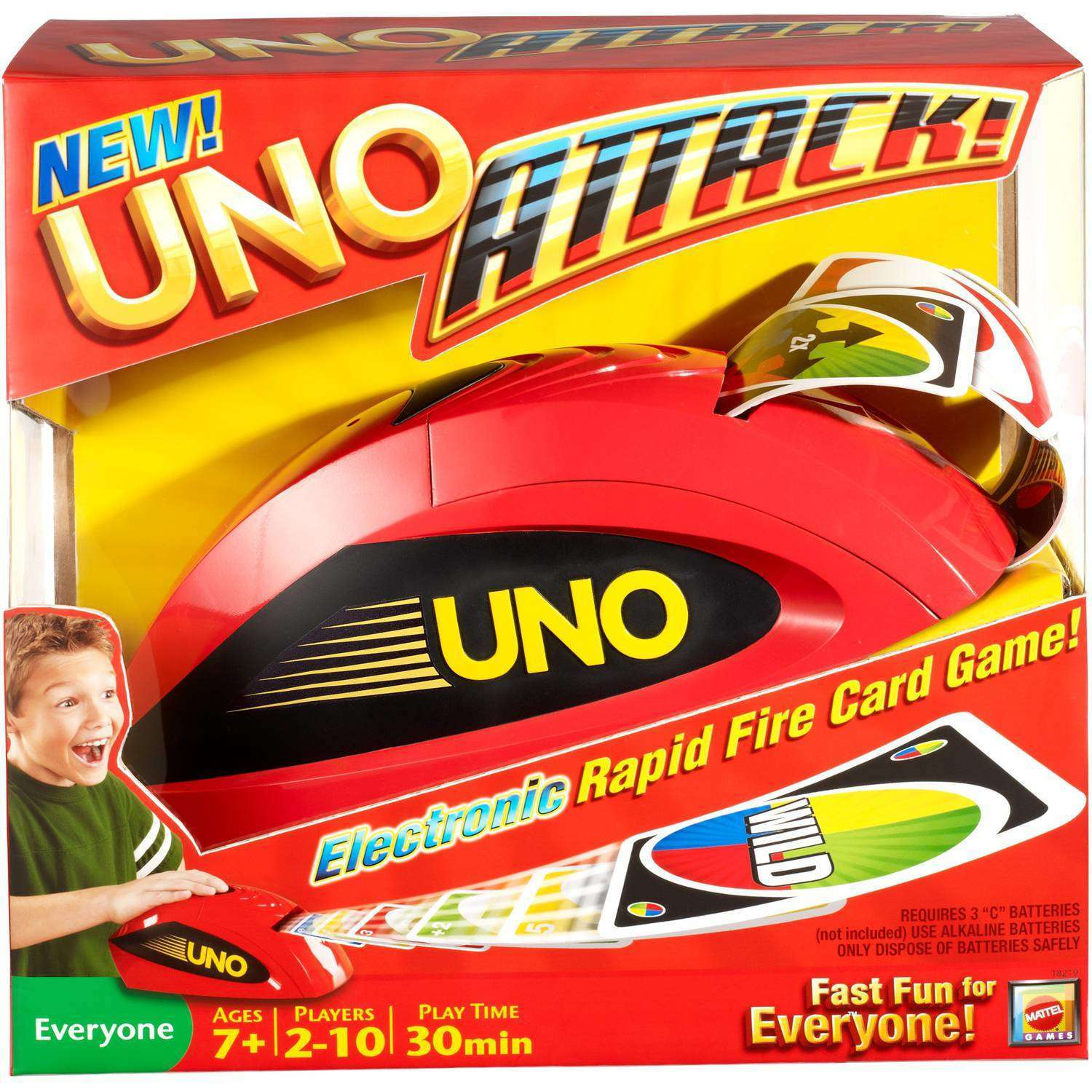 UNO ATTACK! Rapid Fire Card Game for 2-10 Players Ages 7Y+ by Mattel
