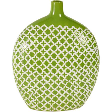 Elements 13 Inch Round Green Patterned Ceramic Vase