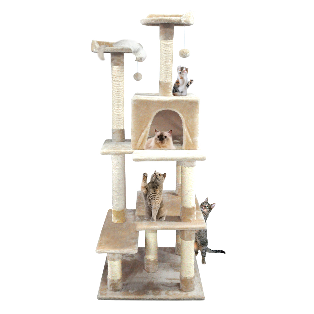 68 Inch Heavy Duty Cat Scratching Post Tree Gym House Condo Furniture Scratcher Cream by
