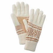 Isotoner Womens Ivory & Brown Snowflake Chenille Knit Gloves Fleece Lined