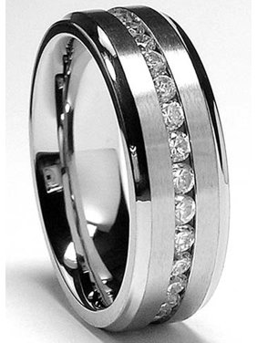 7MM Men's Eternity Titanium Ring Wedding Band with CZ