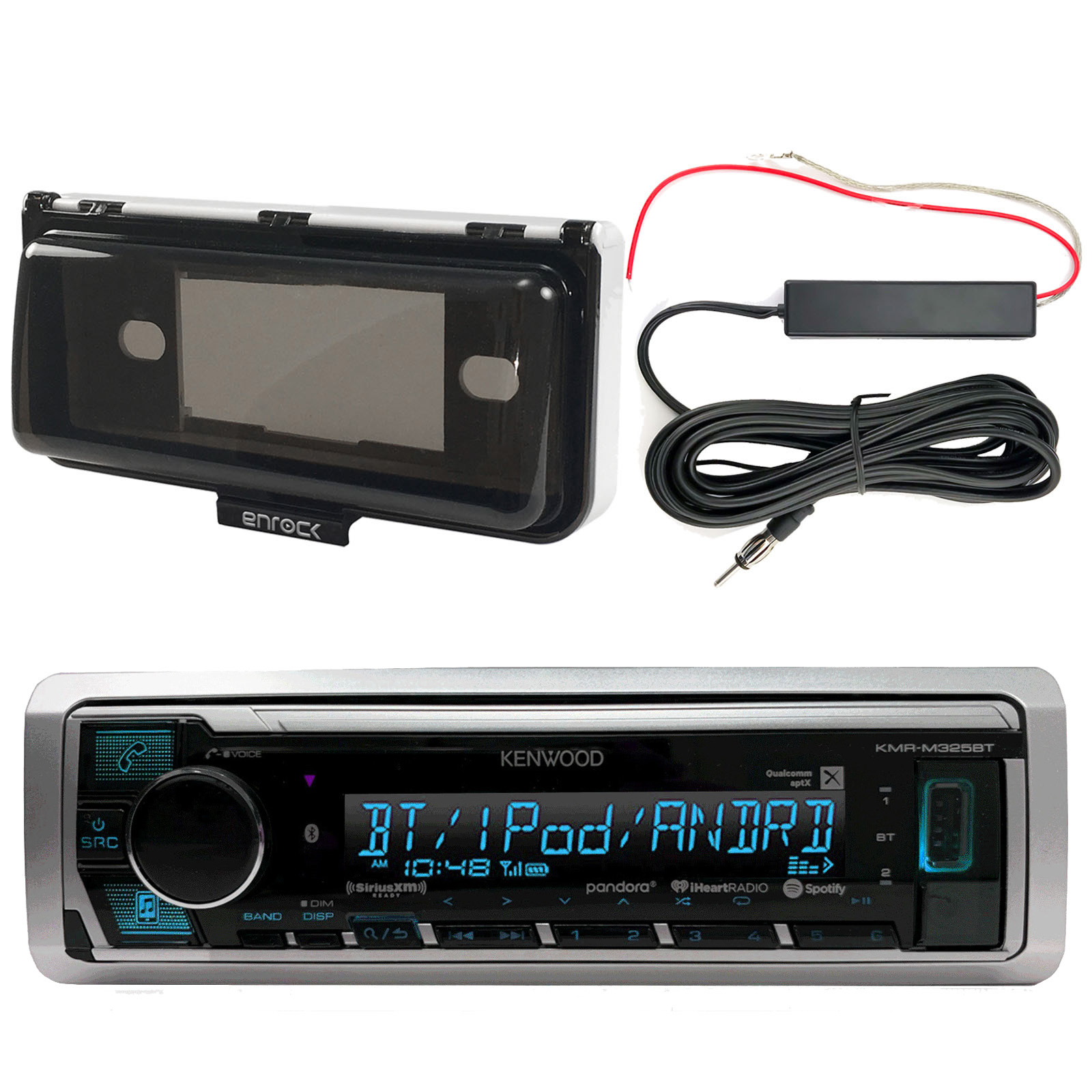 Kenwood KMRM325BT Marine Bluetooth Receiver, Marine Radio Cover - White, Enrock 12 Volt Amp Booster Kit