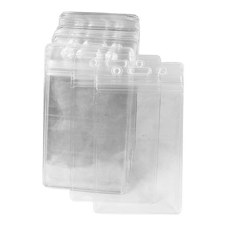 50 Pcs Clear Plastic Vertical Name Tag Badge ID Card Holders
