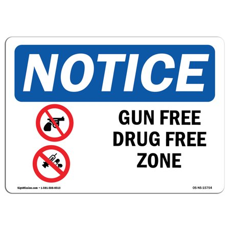 Usa Time Zone Display - OSHA Notice Sign - NOTICE Gun Free Drug Free Zone | Choose from: Aluminum, Rigid Plastic or Vinyl Label Decal | Protect Your Business, Construction Site, Warehouse & Shop Area |  Made in the USA