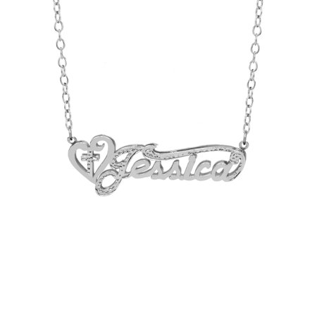Personalized Sterling Silver, Gold Plated, 10K or 14K Religious Nameplate Necklace with Heart and Cross with an 18 inch Link Chain