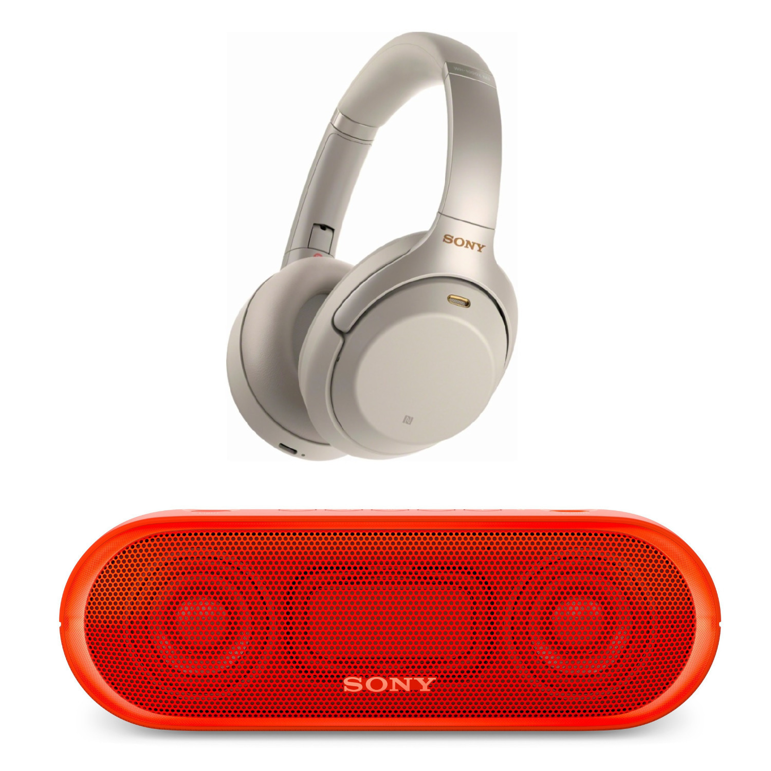 Sony WH-1000XM3 Noise Canceling Headphones (Silver) & Bluetooth Speaker Bundle