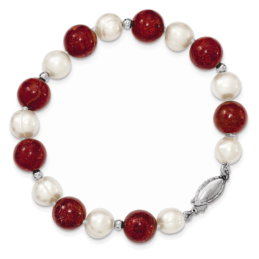Sterling Silver FW Cultured Pearl & Stabilized Red Coral Bracelet Length 7.5 by