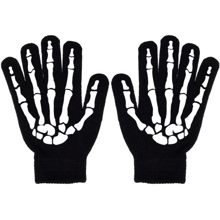 Boys Scary Skeleton & Monster Knit Glove Sets in 12 Creepy Styles and - Skeleton Print Gloves