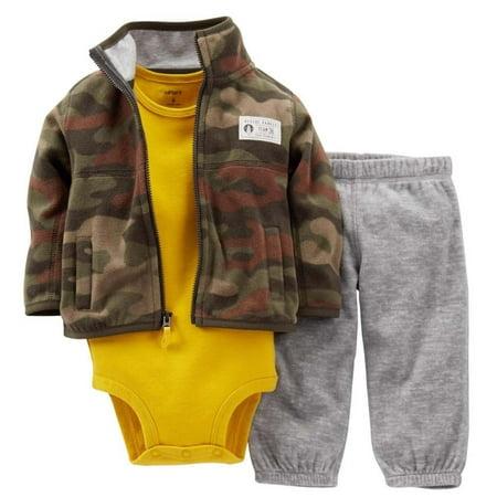 Carters Infant Boys 3 Piece Rescue Ranger Camo Jacket Sweat Pants & Creeper