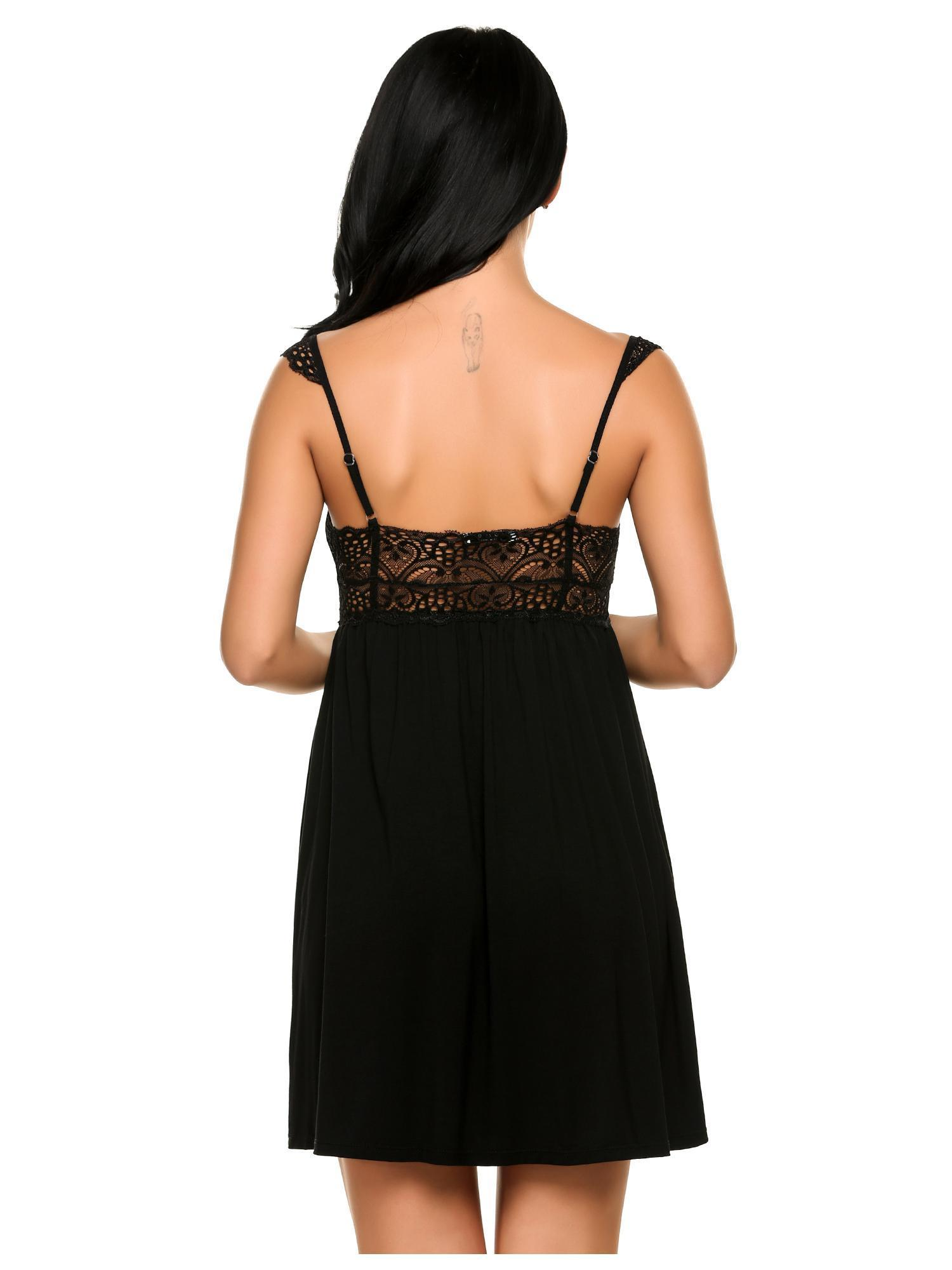 853f97eb10 Women Sleepwear Soft V-Neck Lace Slip Nightgowns Sexy Sling Dress -  Walmart.com