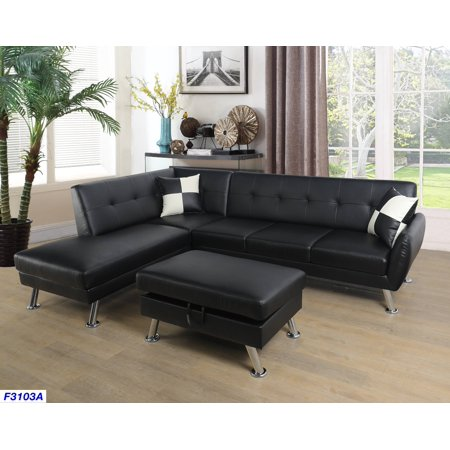 Groovy For U Furnishing Black Faux Leather Sectional Sofa Chrome Leg Feature Left Facing Chaise 74 5D X 103 5W X 33H Ncnpc Chair Design For Home Ncnpcorg