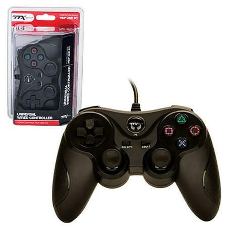 Playstation 3 Wired Controller - TTX Tech Universal Wired USB Controller For PC and Sony PlayStation 3 PS3, Black