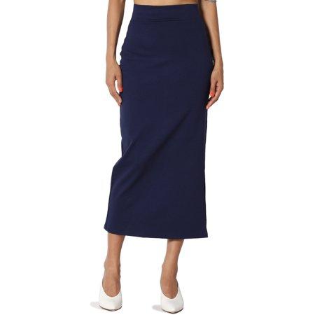 64778c8cbea228 TheMogan - TheMogan Women's PLUS Side Slit Ponte Knit High Waist Mid Calf  Long Pencil Skirt - Walmart.com
