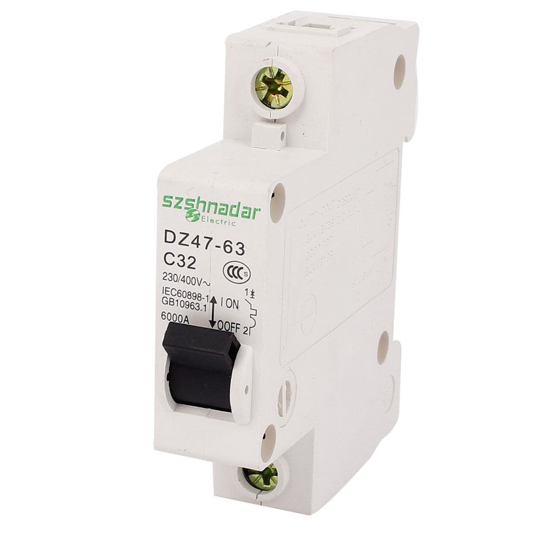 Unique Bargains AC 230/400V 32A DZ47-63 C32 1 Pole On/Off Switch Miniature Circuit Breaker White