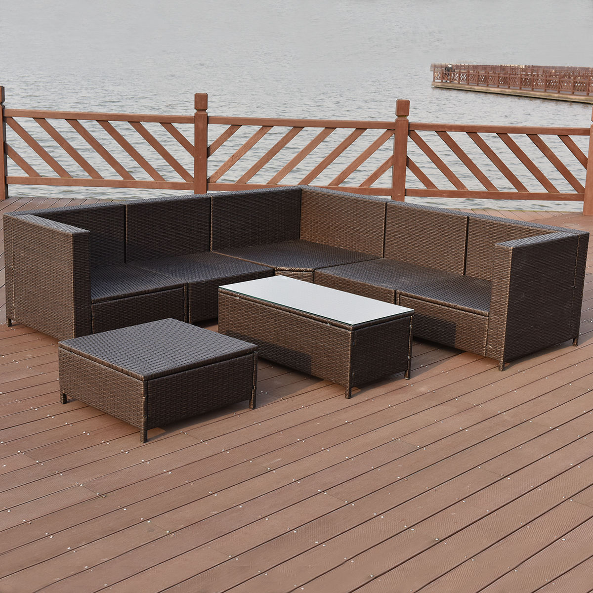 Costway 7 PCS Outdoor Rattan Wicker Furniture Set Sectional ...