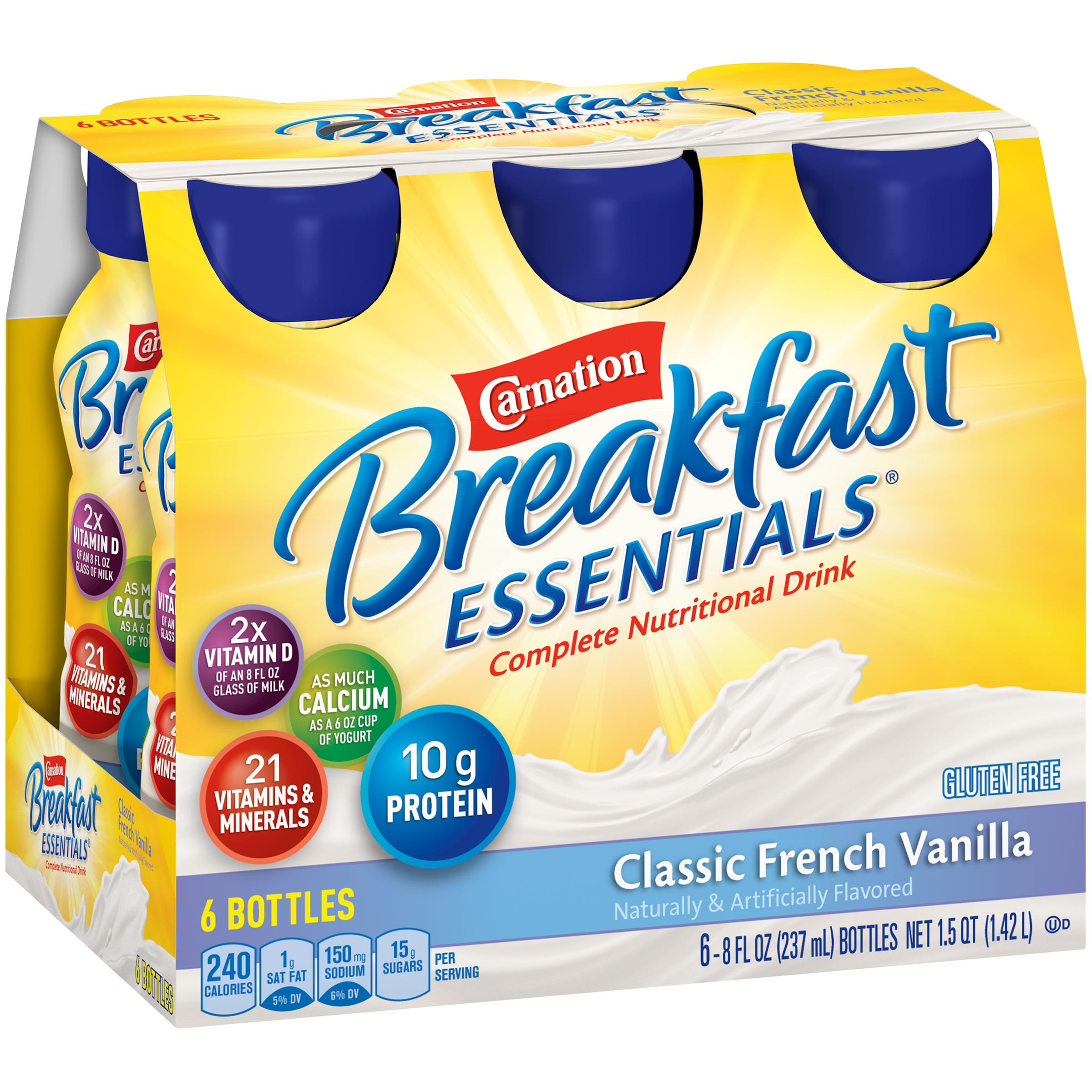 Carnation Breakfast Essentials�� Classic French Vanilla Complete Nutritional Drinks, 8 fl oz, 6 count