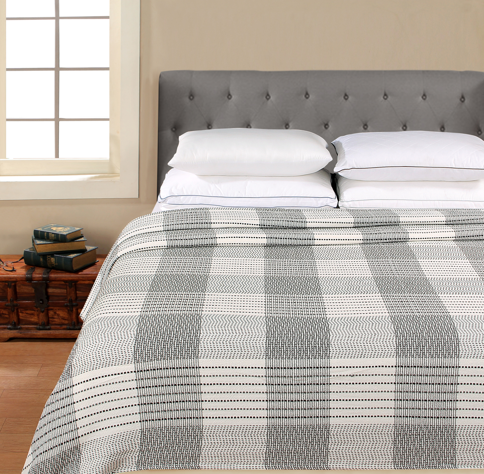 Better Homes & Gardens Cotton Fancy Plaid Blanket, Grey Full/Queen