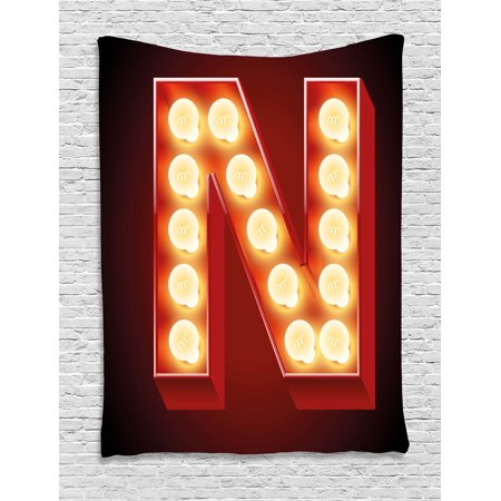 Letter N Tapestry, Old Fashioned Movie Theater Carnival Casino Entertainment Night Life, Wall Hanging for Bedroom Living Room Dorm Decor, 60W X 80L Inches, Vermilion Yellow Black, by - Casino Night Decor