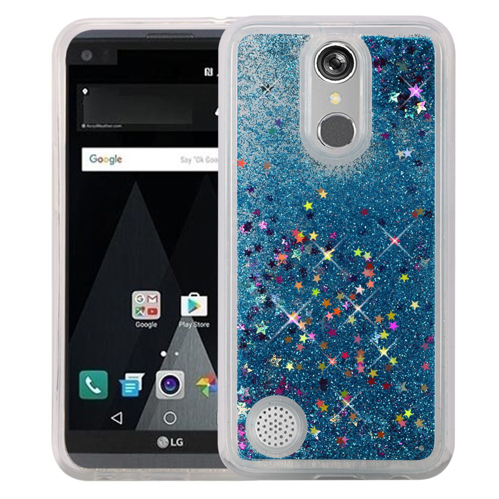 premium selection 41c36 15b82 LG Aristo, Fortune, Phoenix 3 Case - Wydan Liquid Water Sand Bling Glitter  Sparkle Shockproof Flexible Phone Cover Blue