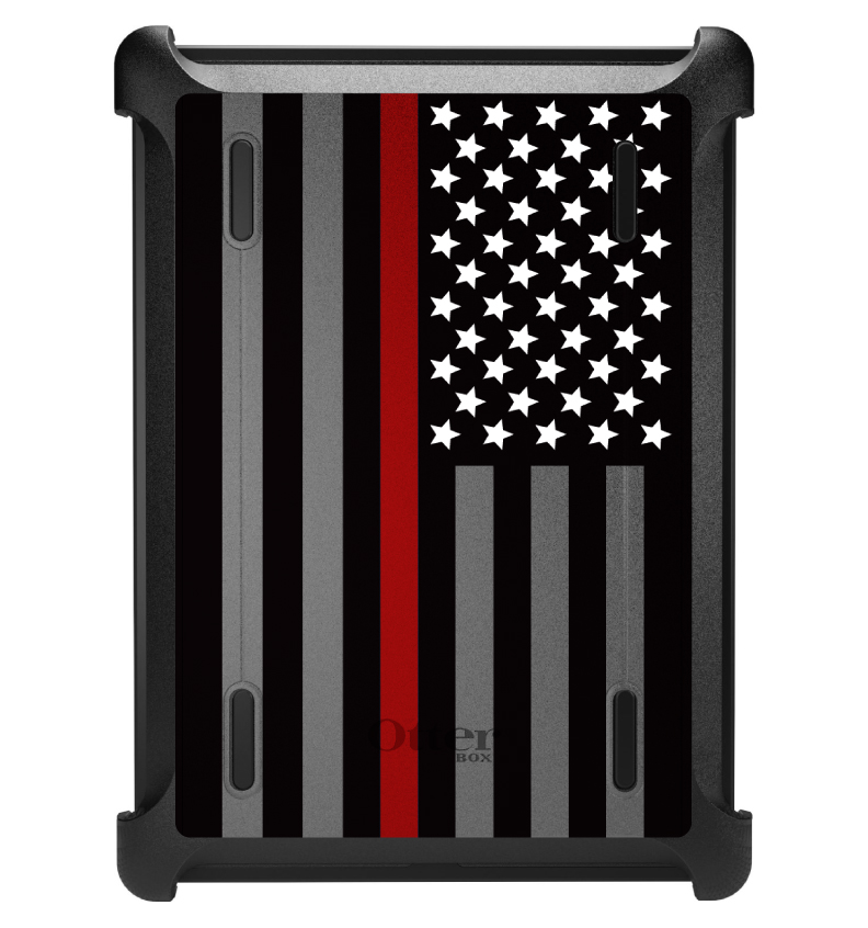CUSTOM Black OtterBox Defender Series Case for Apple iPad Air 1 (2013 Model) - Thin Red Line US Flag Fire Rescue